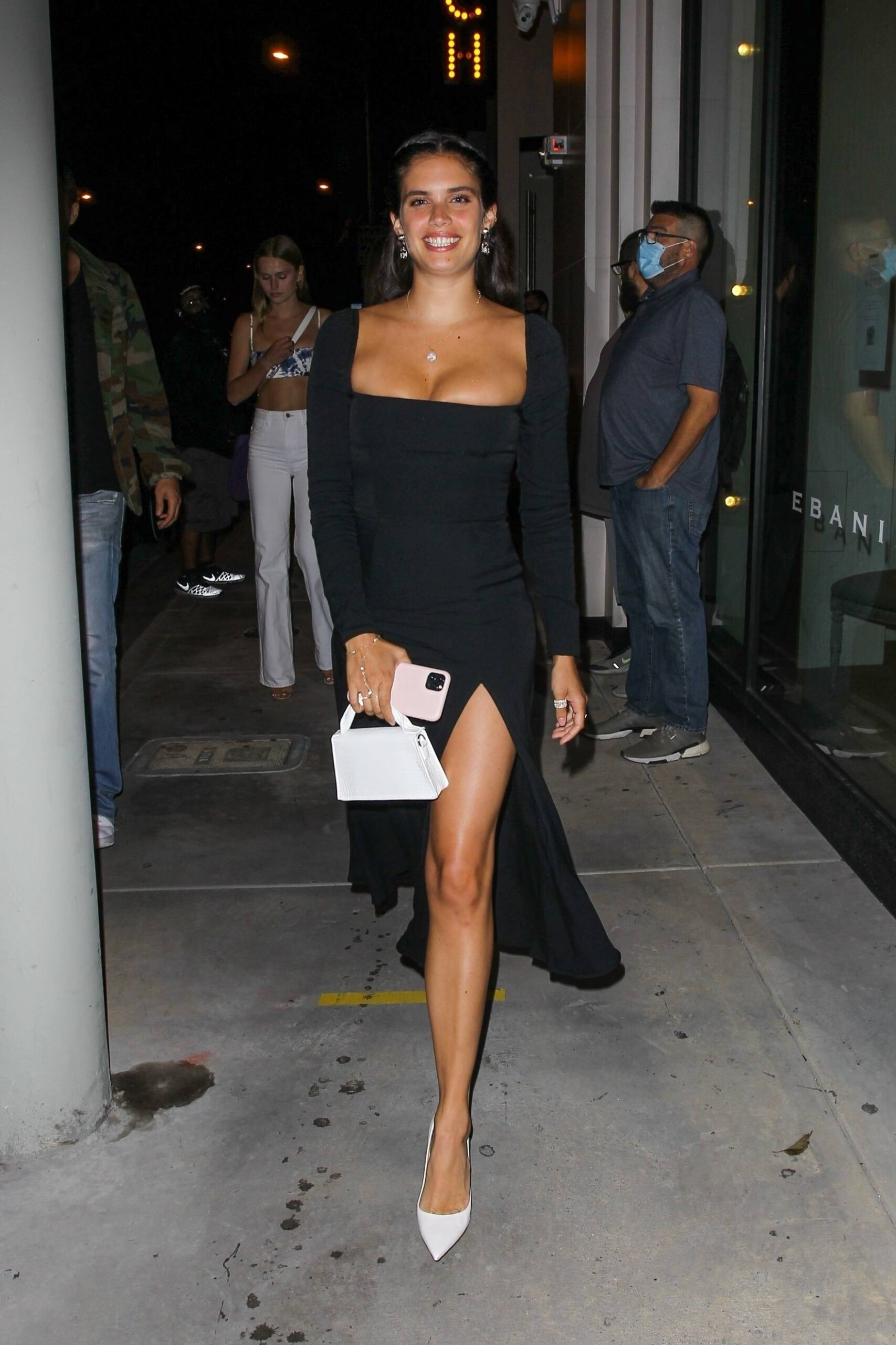 Sara Sampaio – Beautiful In Sexy Black Dress At Catch Restaurant In West Hollywood 0002