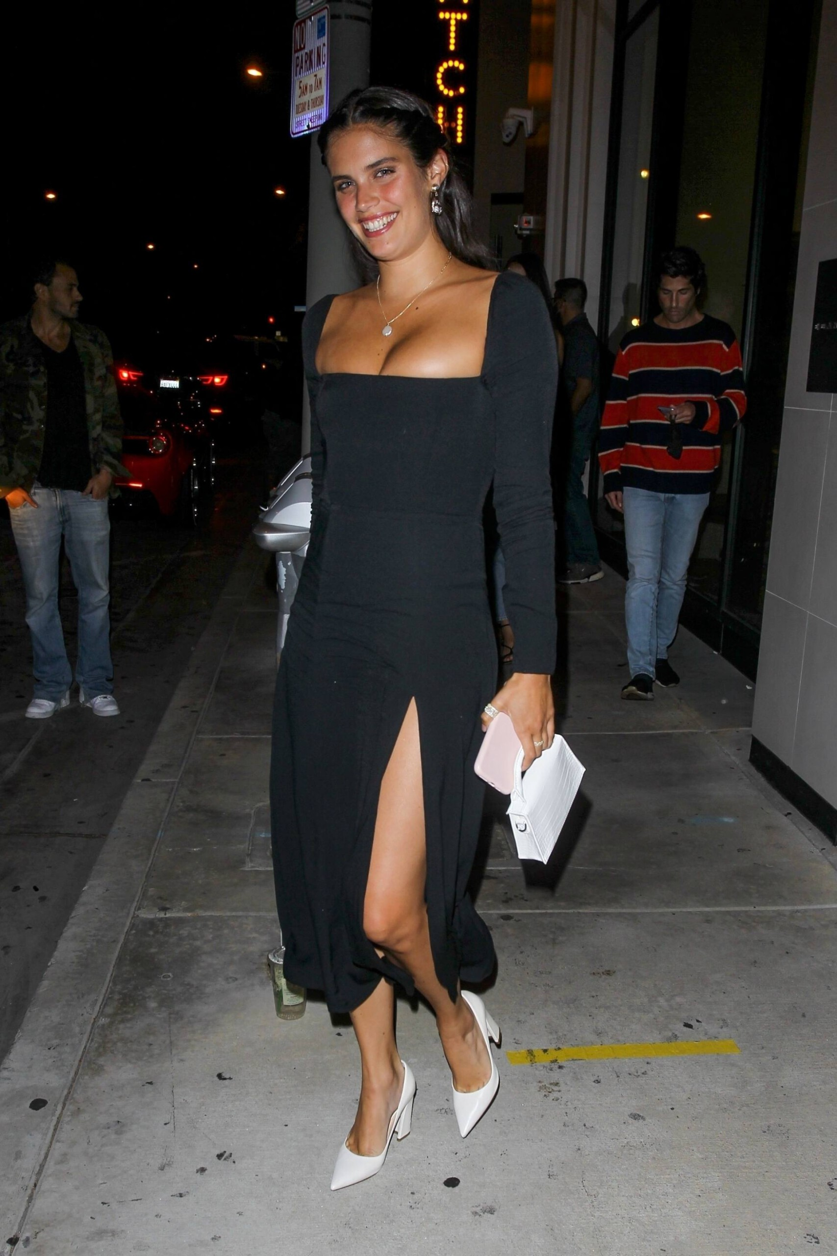 Sara Sampaio – Beautiful In Sexy Black Dress At Catch Restaurant In West Hollywood 0014