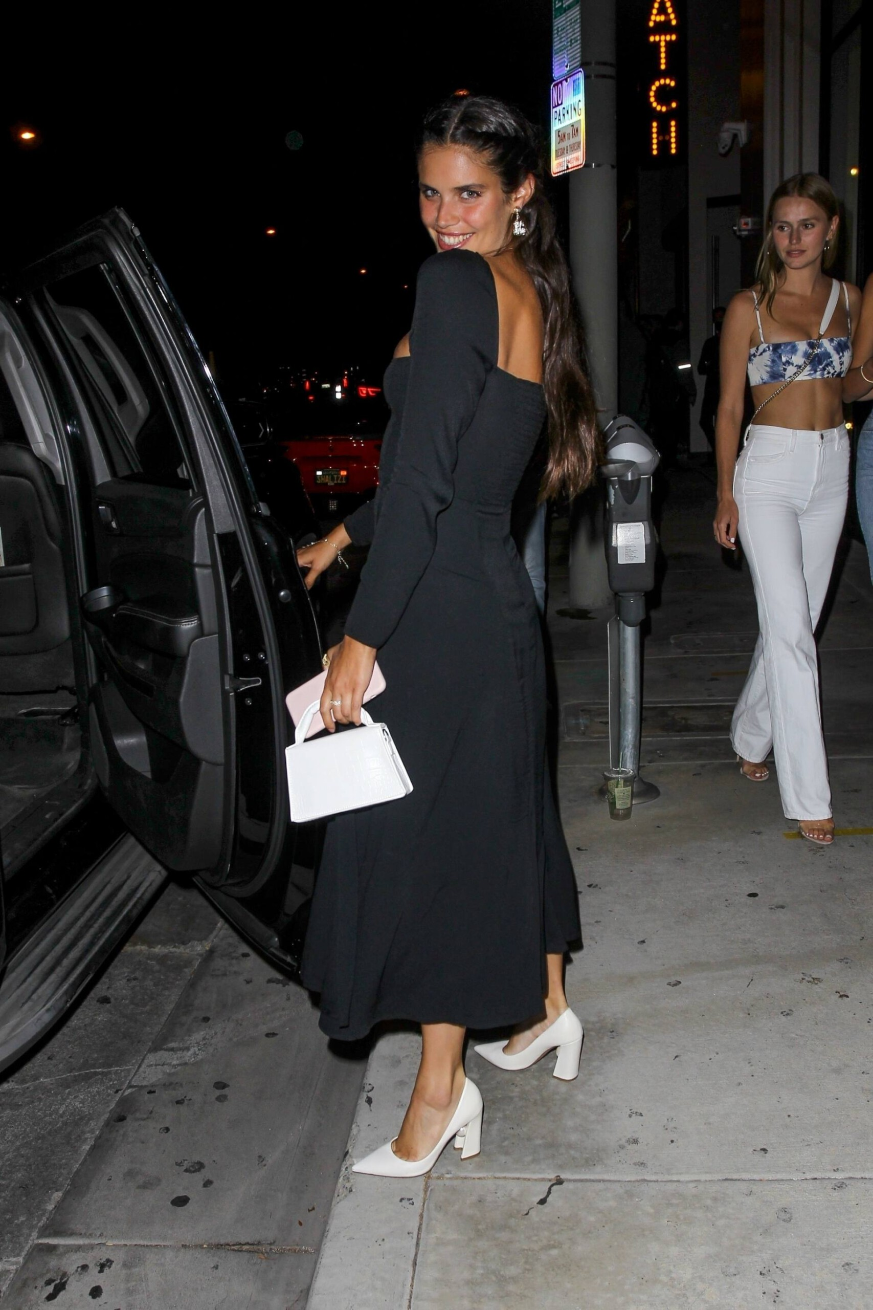 Sara Sampaio – Beautiful In Sexy Black Dress At Catch Restaurant In West Hollywood 0025