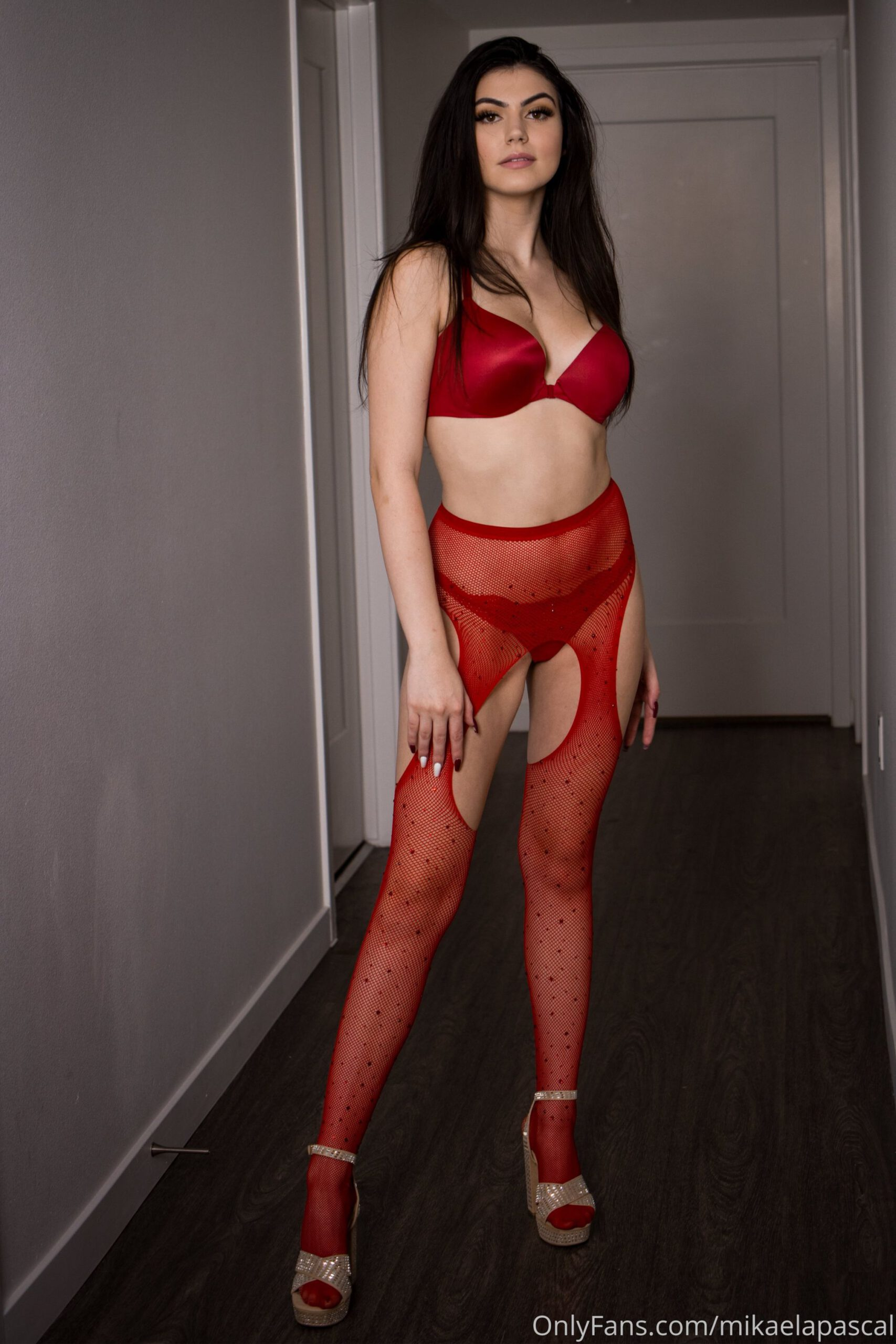 Mikaela Pascal Red Lingerie 0002