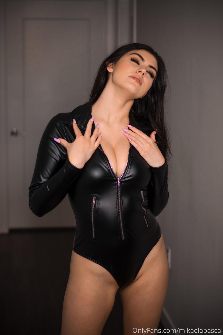 Mikaela Pascal Sexy Leather Bodysuit Onlyfans Set Leaked 0008
