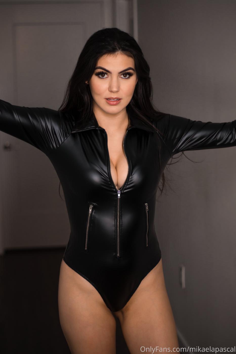 Mikaela Pascal Sexy Leather Bodysuit Onlyfans Set Leaked 0009
