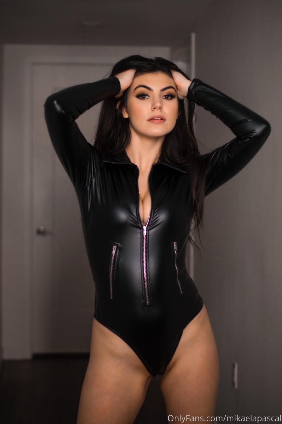 Mikaela Pascal Sexy Leather Bodysuit Onlyfans Set Leaked 0016