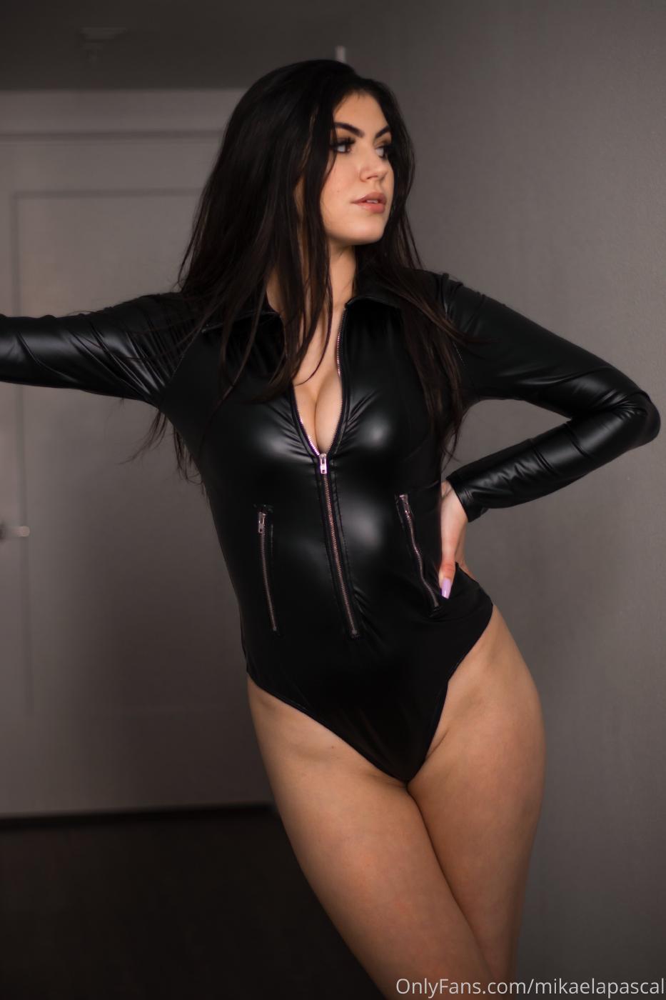 Mikaela Pascal Sexy Leather Bodysuit Onlyfans Set Leaked 0024