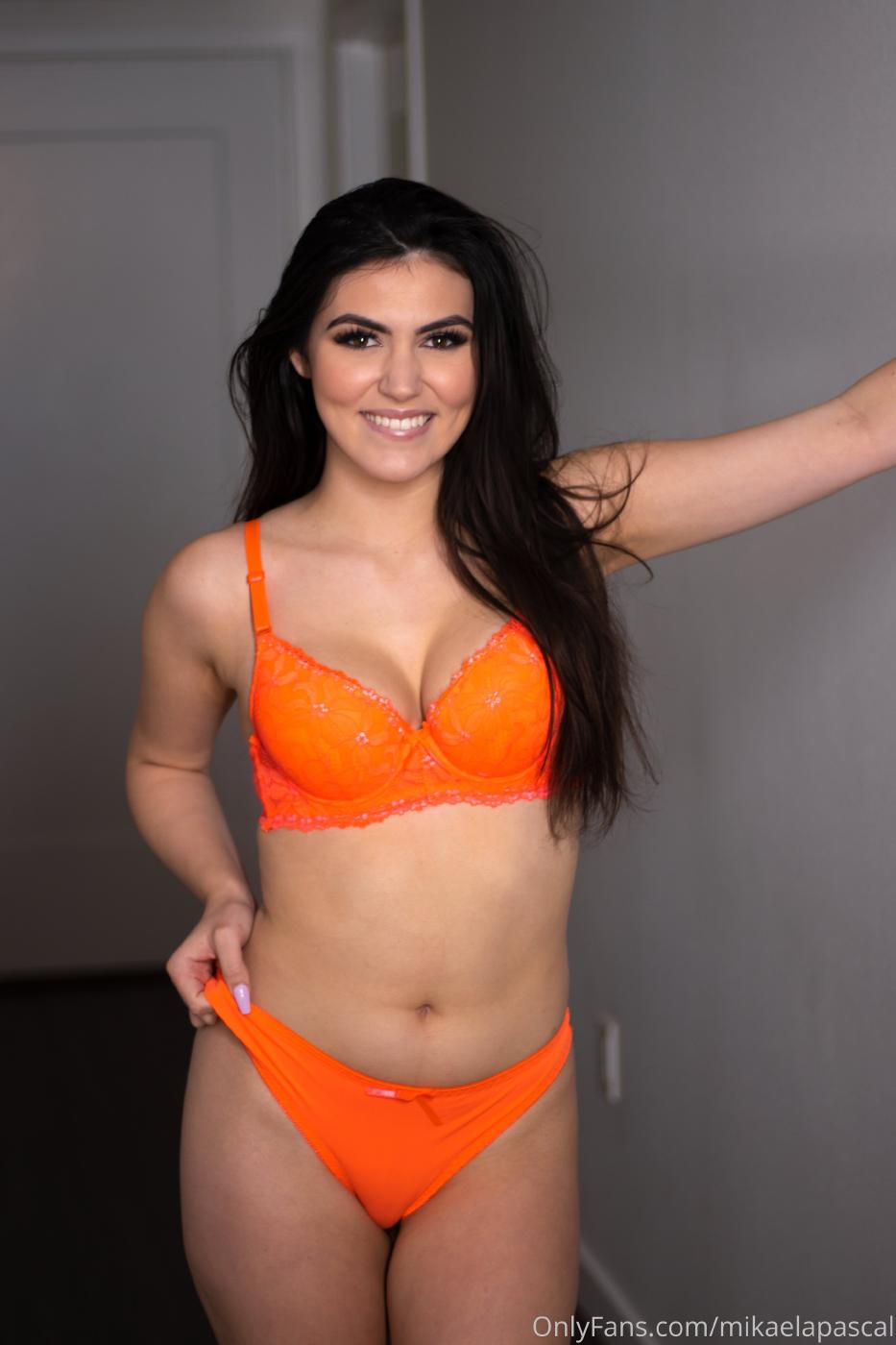 Mikaela Pascal Orange Lingerie Onlyfans Set Leaked 0004