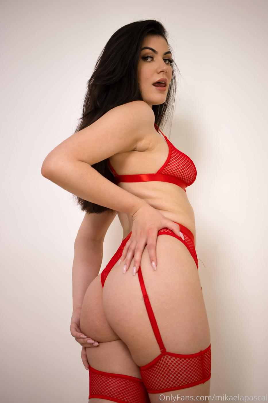 Mikaela Pascal Red Lingerie Onlyfans Set Leaked 0001