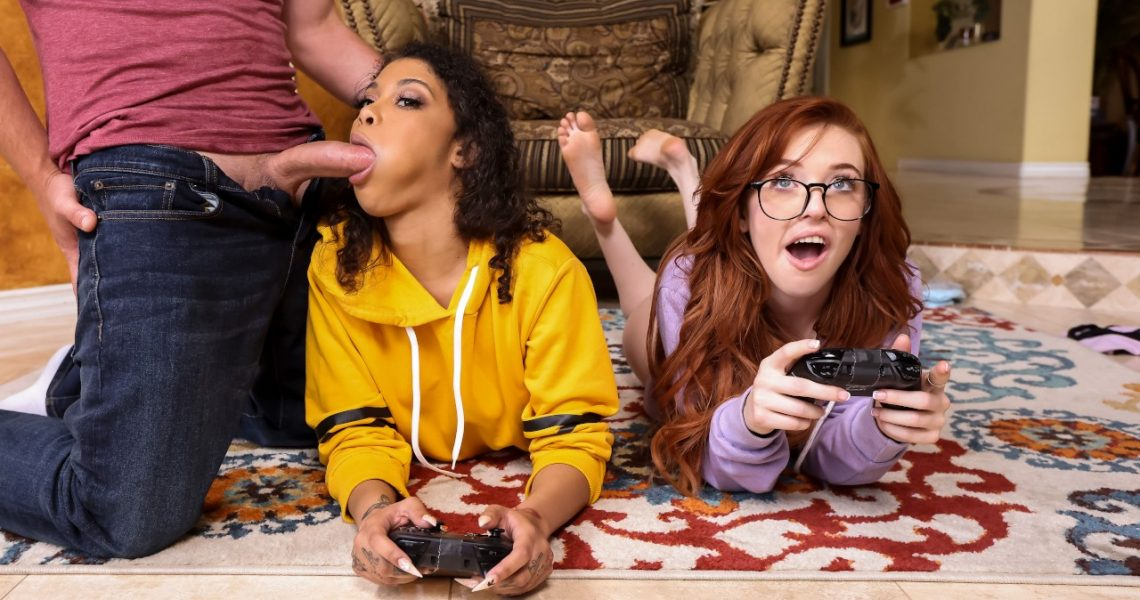 Brazzers Exxtra With Jeni Angel & Madi Collins In Gamer Girl Threesome Action