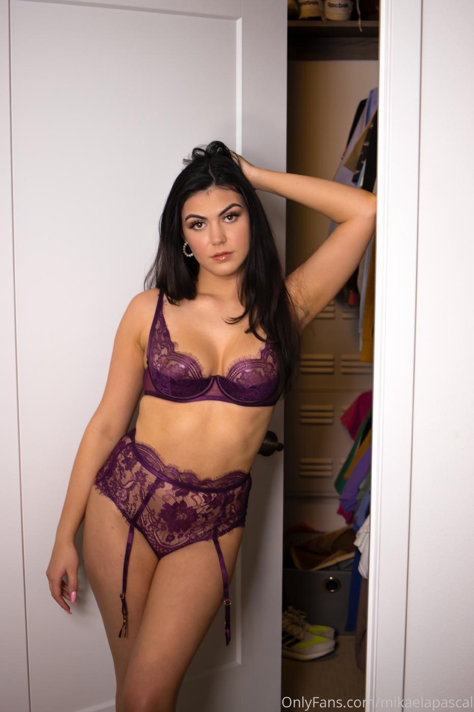 Mikaela Pascal Purple Lace Lingerie Onlyfans Set Leaked Auxdag