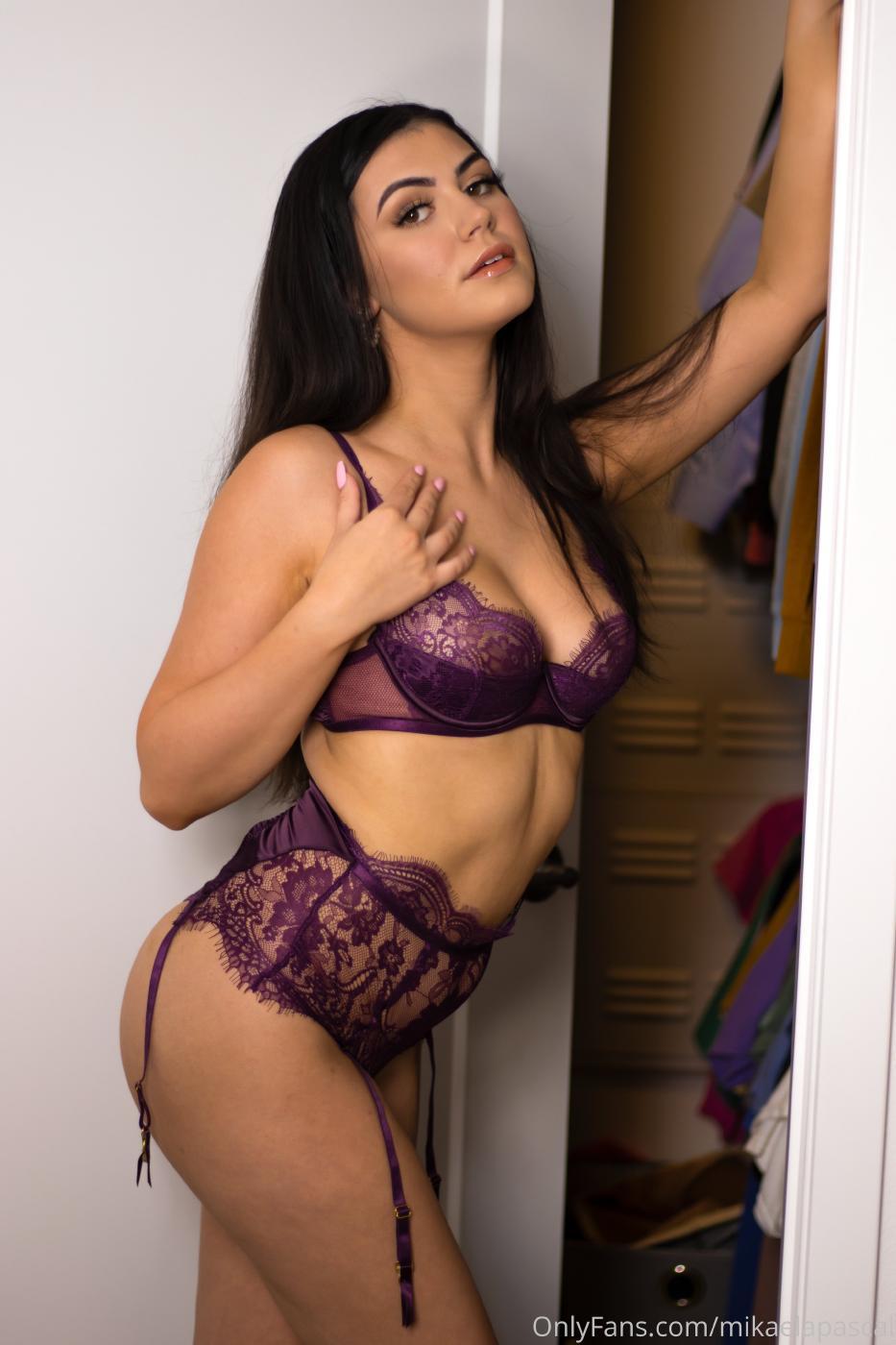 Mikaela Pascal Purple Lace Lingerie Onlyfans Set Leaked Kziwjx