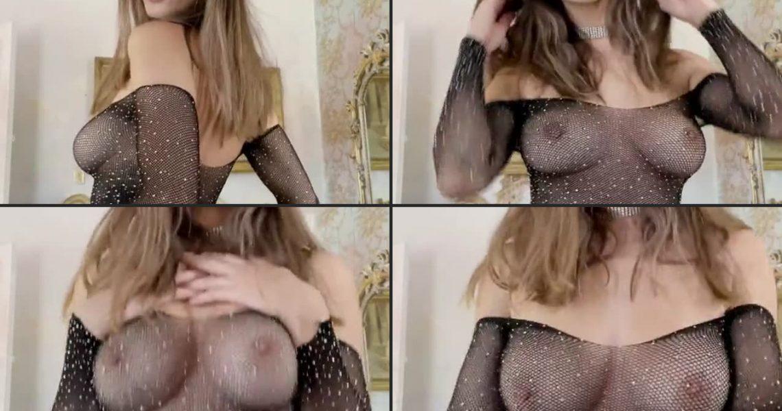 Natalie Roush Nude See Through Fishnet Dress Video Leaked