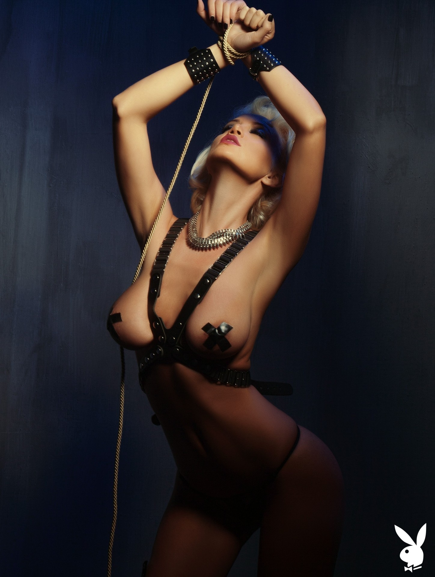 Bondage, Harness, Body Harness, Black Body Harness, Black Harness, Nipple Pasties, Thong, Black Thong, Bdsm, Blindfold, Handcuffs, Fetish, Rope, Tied